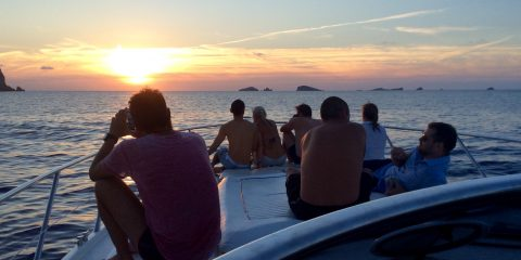 Ibiza sunset by boat
